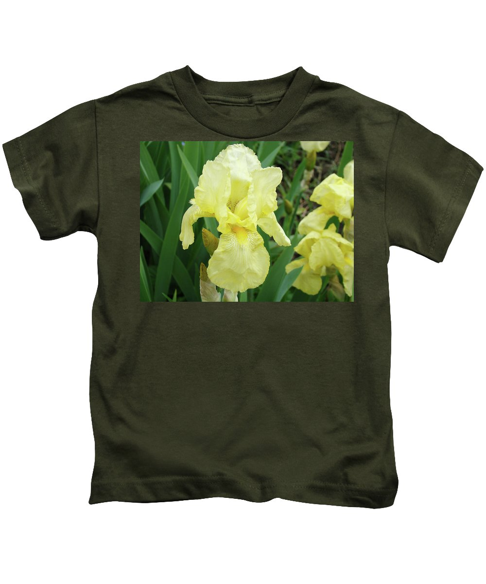 Iris Kids T-Shirt featuring the photograph Botanical Yellow Iris Flower Summer Floral Art Baslee Troutman by Baslee Troutman