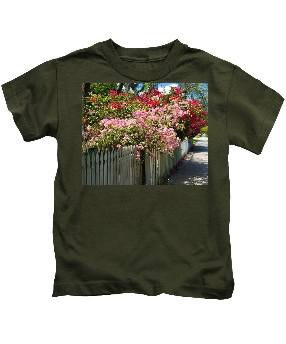 Nyctaginaceae; Bougainvillea; Flower; Flowers; Flowering; Bloom; Bloomimg; Blossom; Blossoming; Red; Kids T-Shirt featuring the photograph Bougainvillea In Old Eau Gallie Florida by Allan Hughes