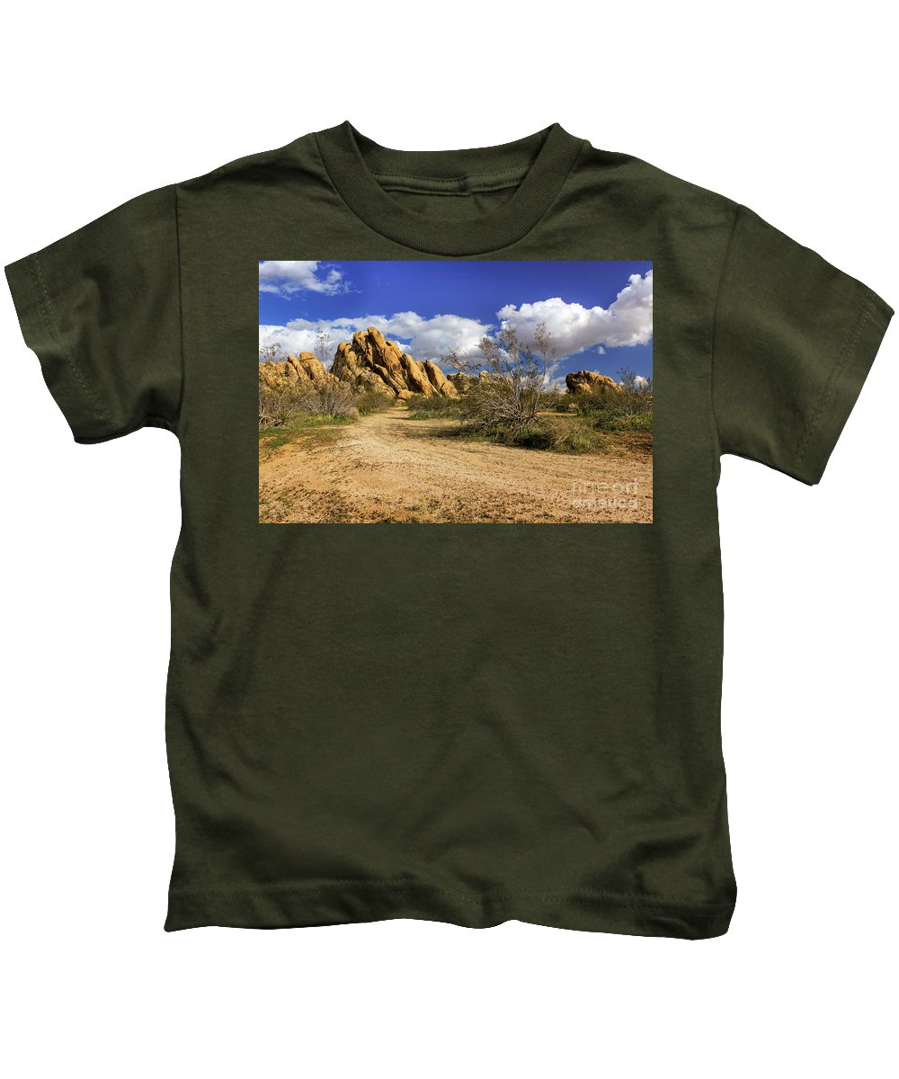 Landscape Kids T-Shirt featuring the photograph Boulders At Apple Valley by James Eddy