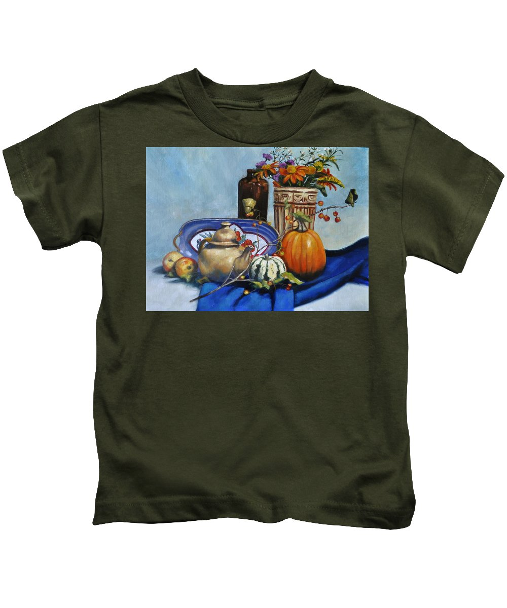 Still Life Kids T-Shirt featuring the painting Bounty by Valerie Bassett