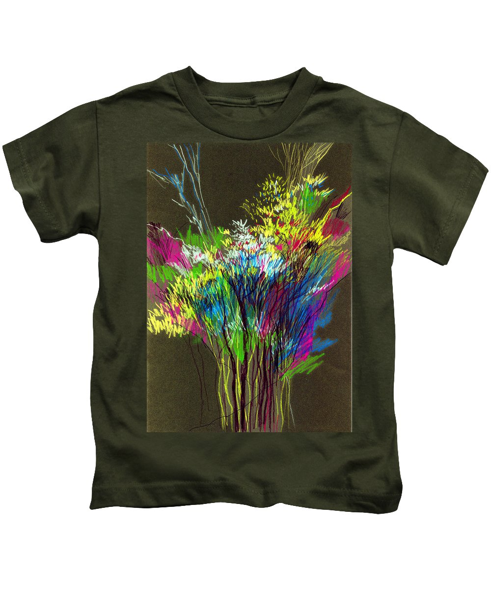 Flowers Kids T-Shirt featuring the painting Bouquet by Anil Nene