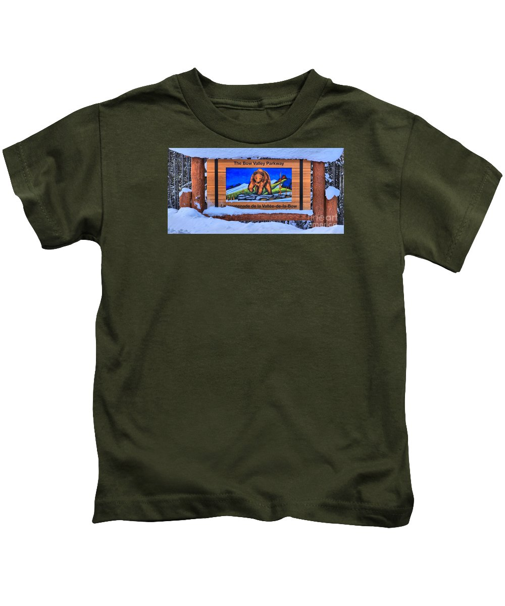 Kids T-Shirt featuring the photograph Bow Valley Parkway Snowy Entrance by Adam Jewell