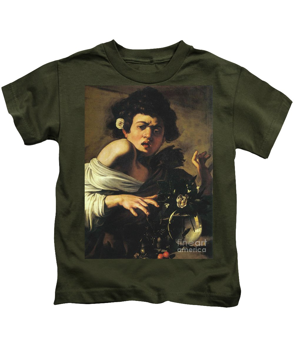 Caravaggio Kids T-Shirt featuring the painting Boy Bitten By A Lizard, 1596 To 97 by Caravaggio