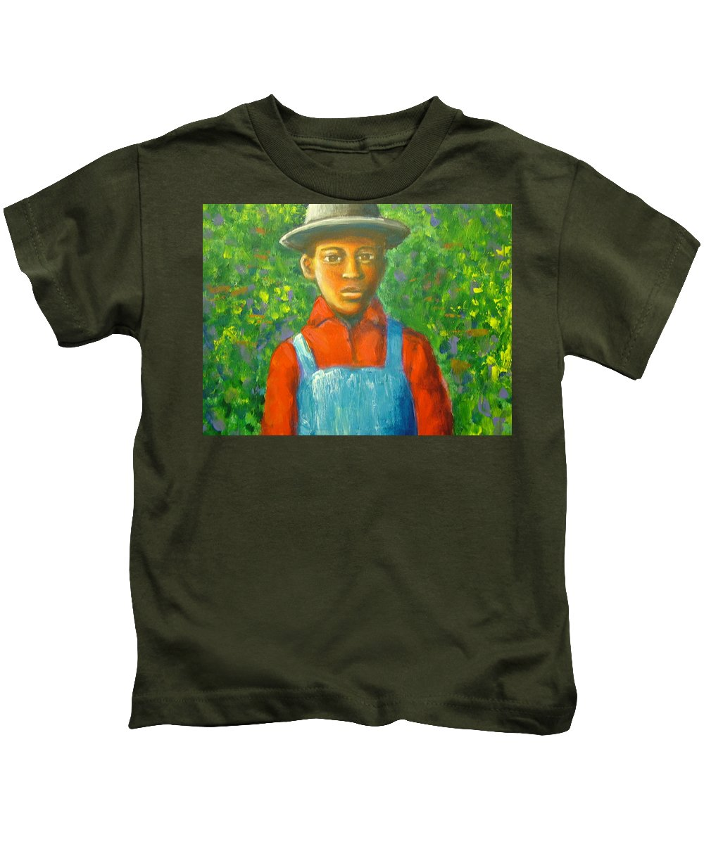 Painting Kids T-Shirt featuring the painting 'boy In The Woods' by Jan Gilmore