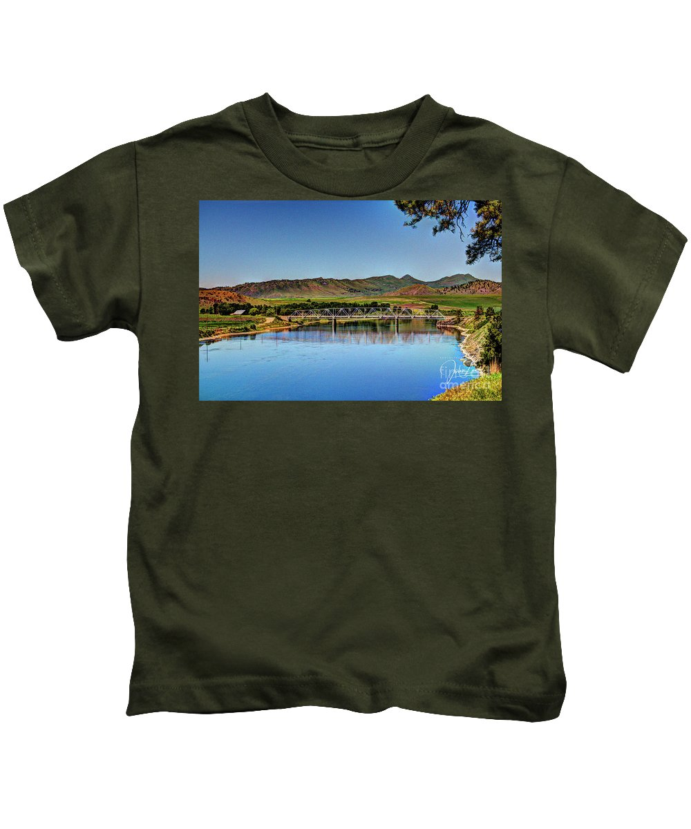 River Kids T-Shirt featuring the photograph Bridge At Wolf Creek by John Lee