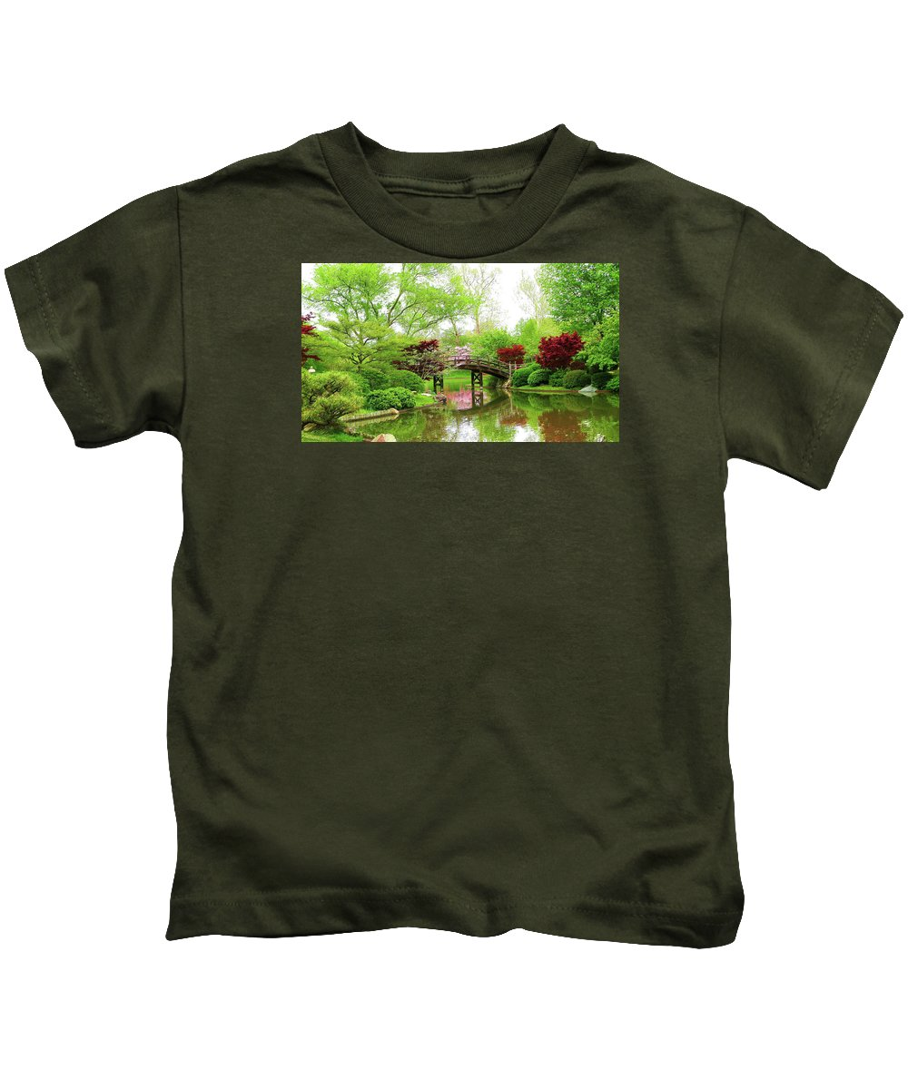 Print On Canvas Kids T-Shirt featuring the painting Bridge Over Calm Waters by Susanna Katherine