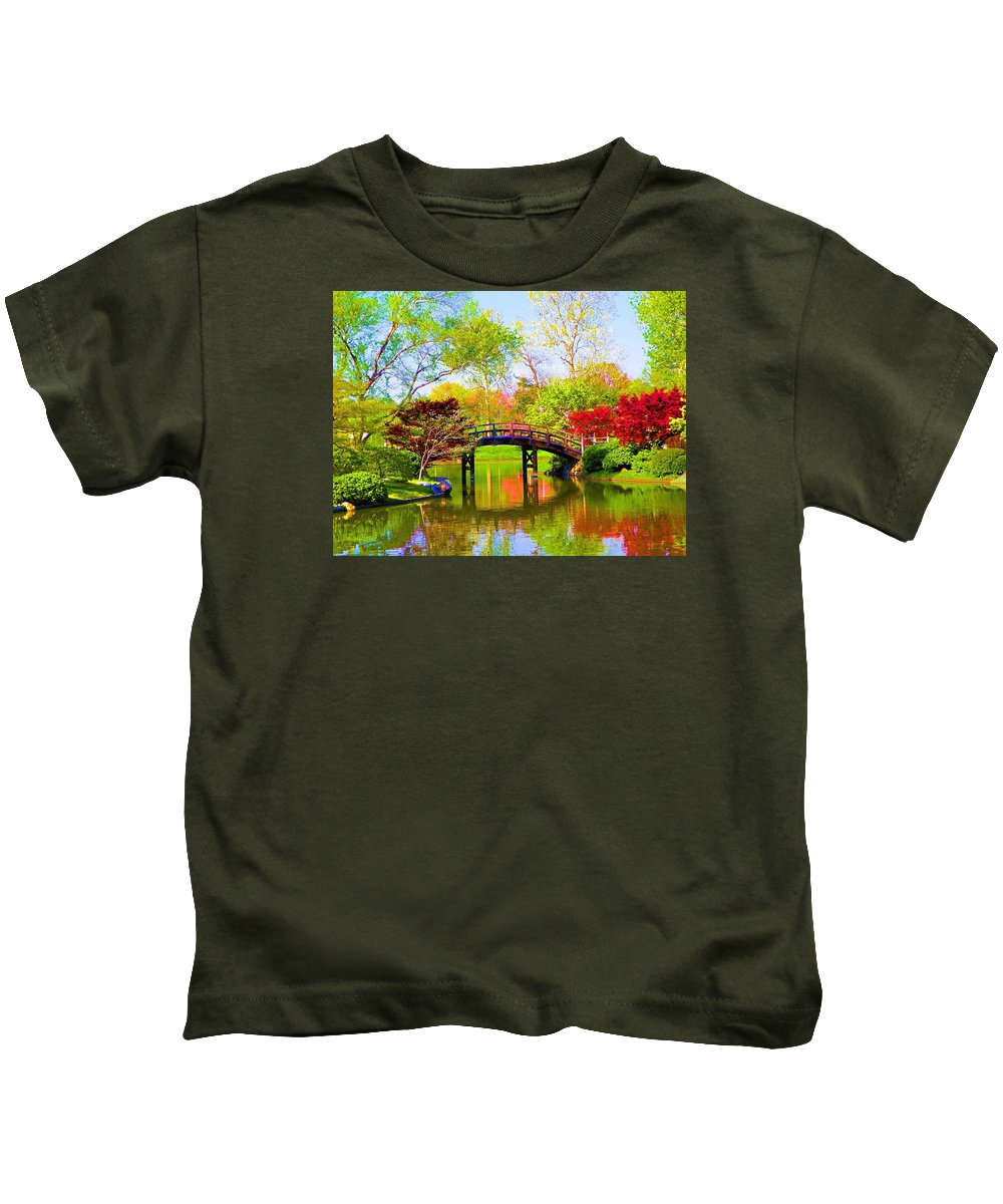 Canvas Print Kids T-Shirt featuring the painting Bridge With Red Bushes In Spring by Susanna Katherine