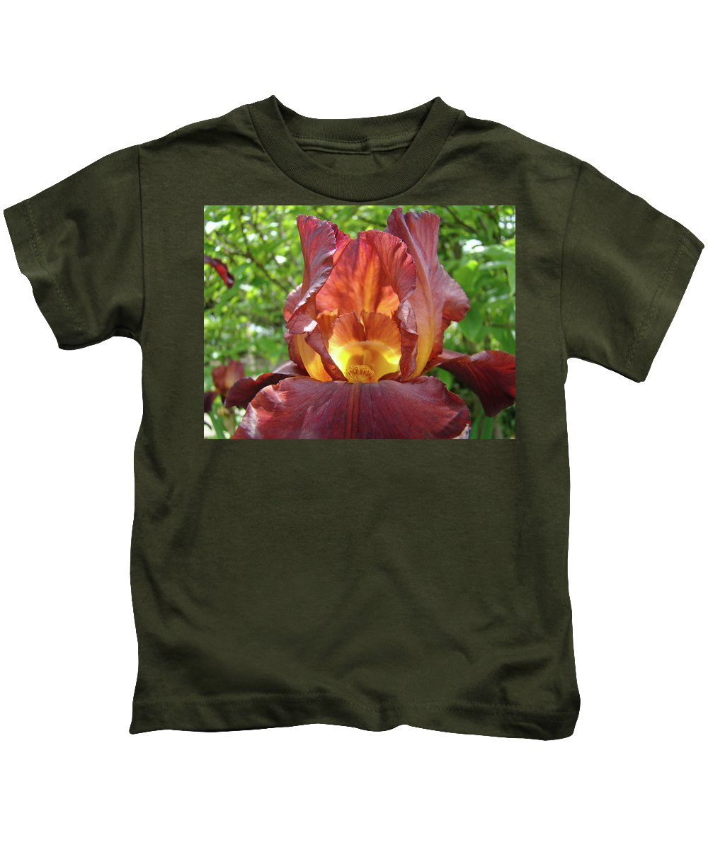 Iris Kids T-Shirt featuring the photograph Bright Colorful Iris Flower Irises Baslee Troutman by Baslee Troutman