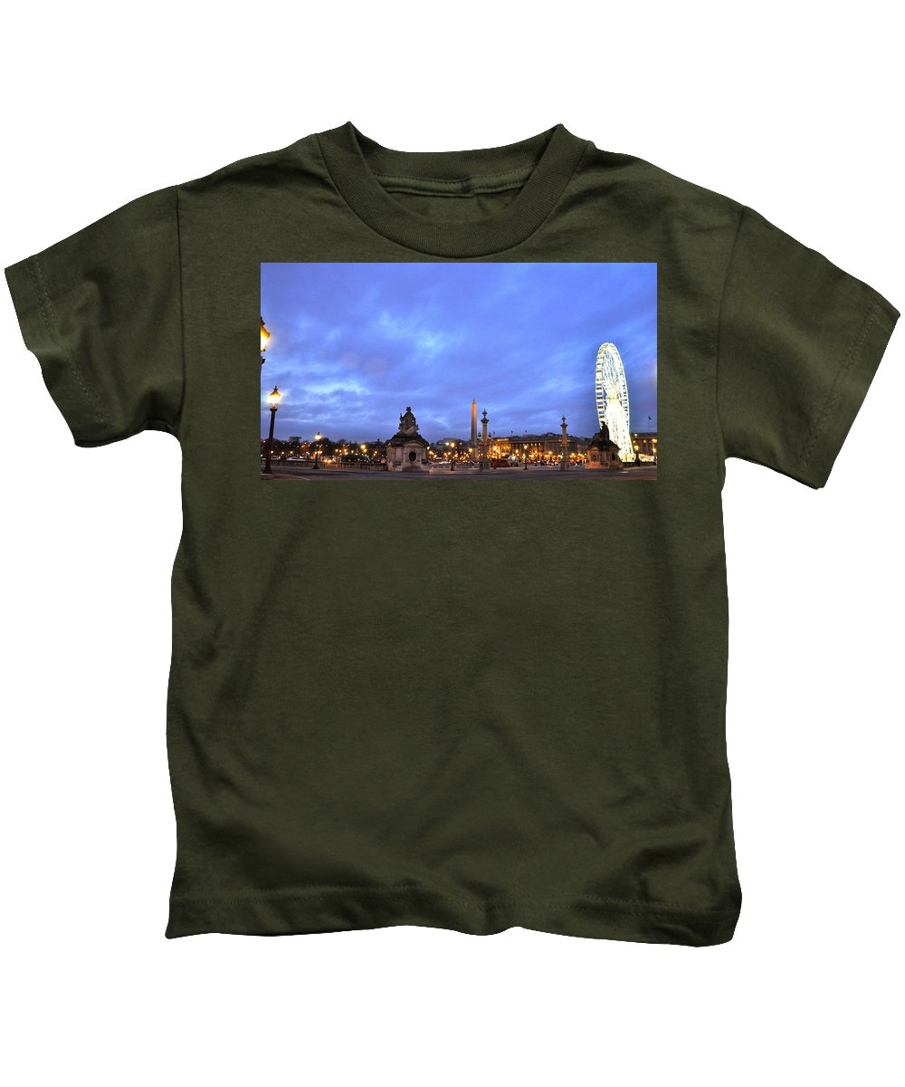 Paris Night Shot Kids T-Shirt featuring the photograph Bright Night In Paris by Caroline Reyes-Loughrey