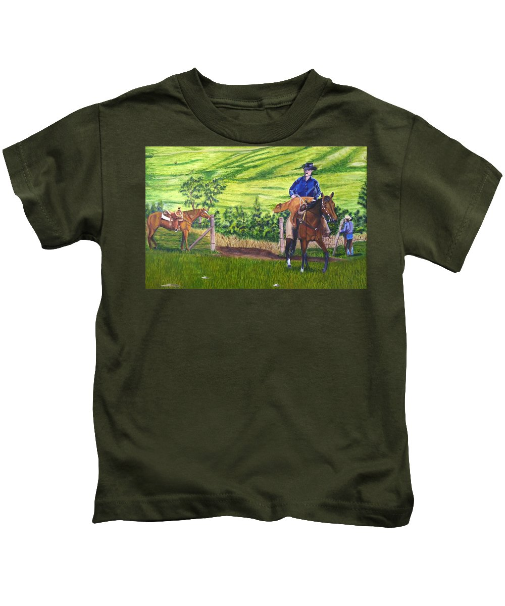 Cowboy Kids T-Shirt featuring the painting Bringin by Mendy Pedersen