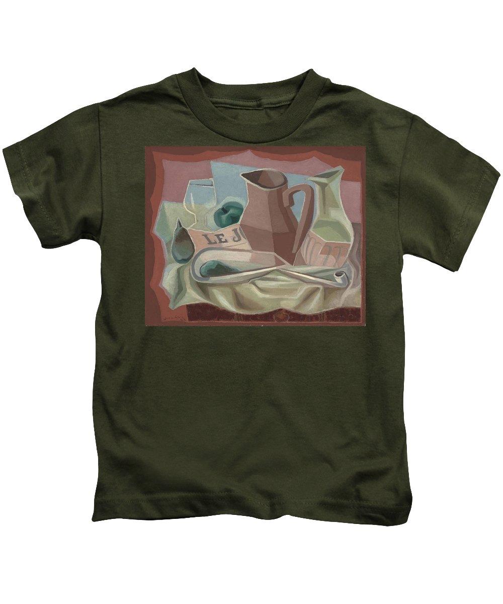 Juan Gris (1887-1927) Broc Et Carafe Kids T-Shirt featuring the painting Broc Et Carafe by Juan Gris