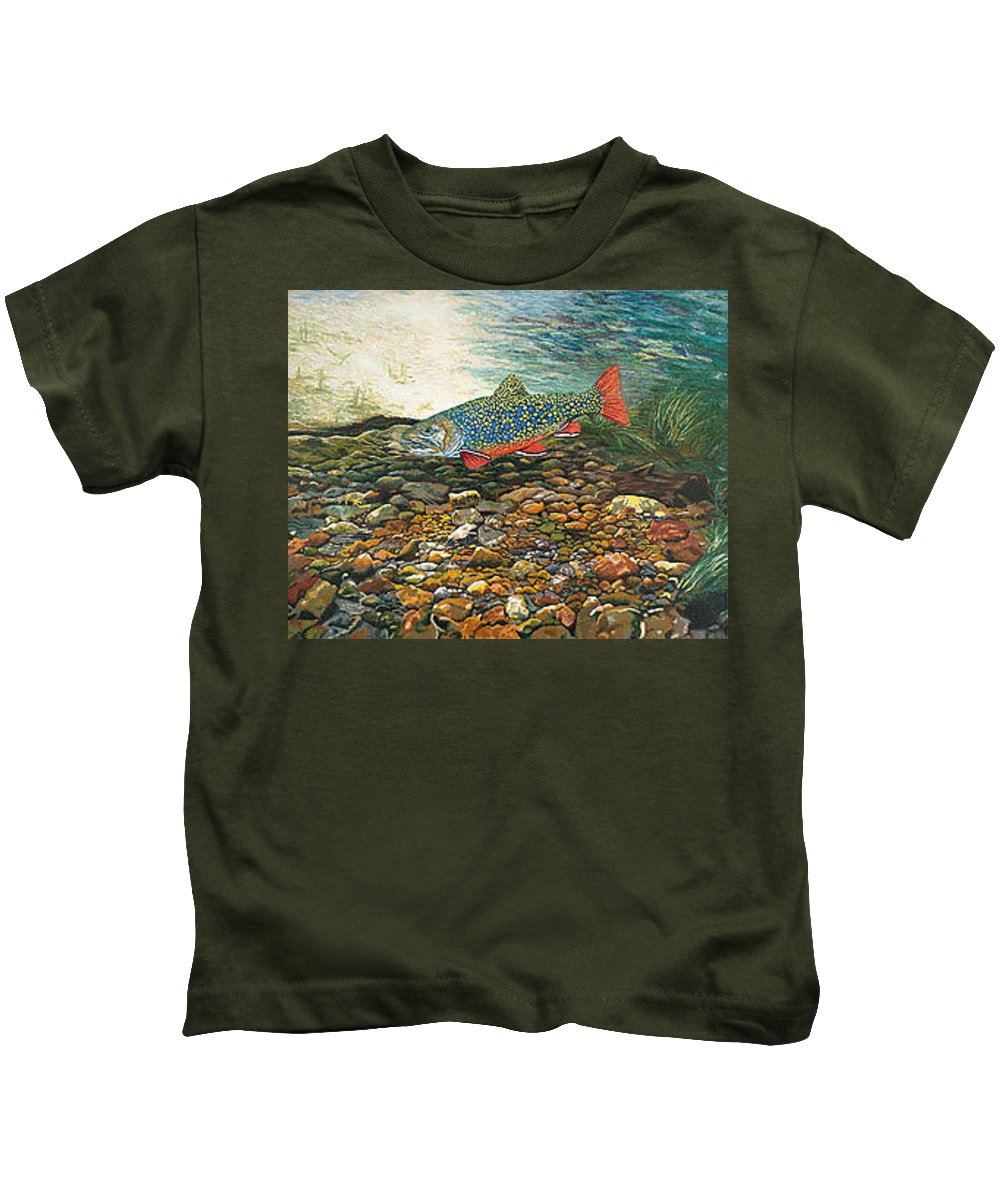 Nature Kids T-Shirt featuring the painting Brook Trout Art Fish Art Nature Wildlife Underwater by Baslee Troutman