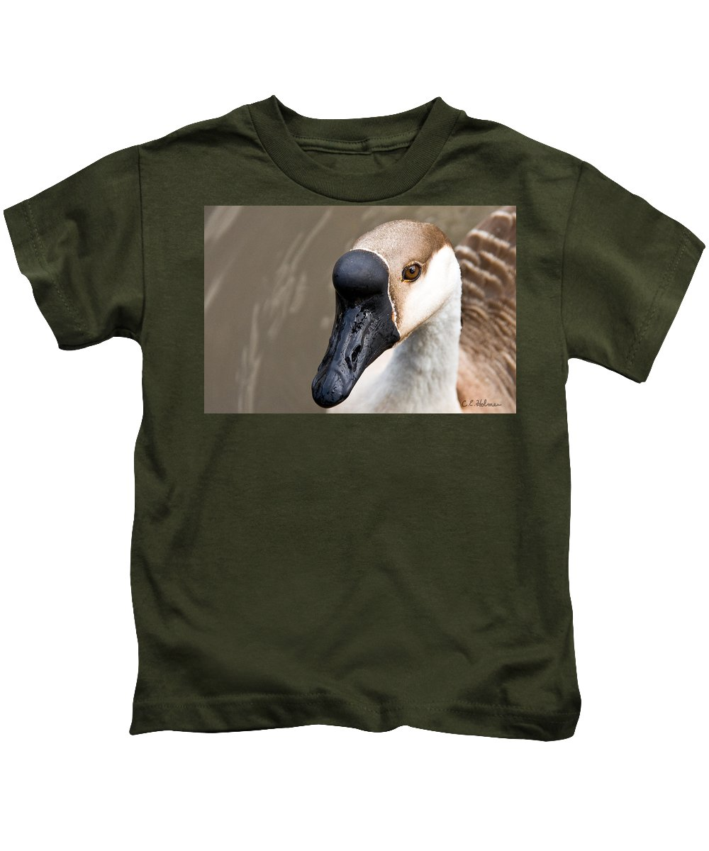 Chinese Brown Goose Kids T-Shirt featuring the photograph Brown Eye by Christopher Holmes