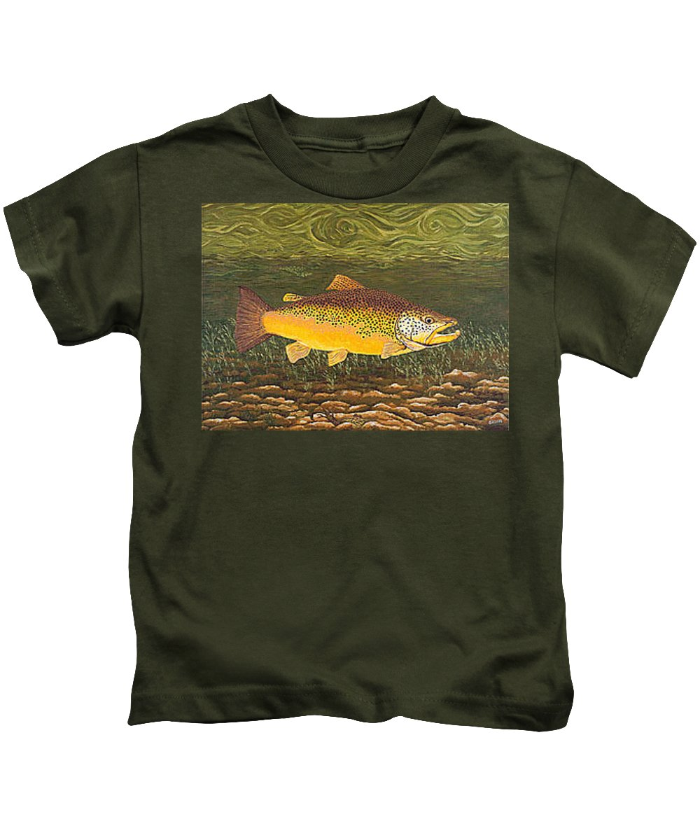 Art Print Prints Canvas Framed Giclee Fine Brown Trout Fish Angler Angling Fishing Fishermen Decor Kids T-Shirt featuring the painting Brown Trout Fish Art Print Touch Down Brown Trophy Size Football Shape Brown Trout Angler Angling by Baslee Troutman