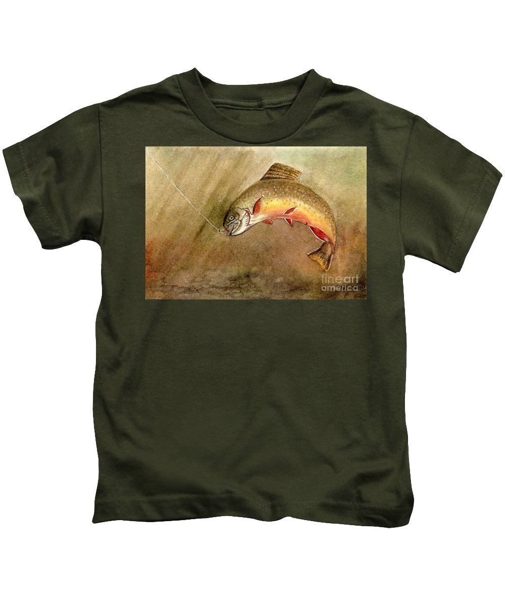 Trout Kids T-Shirt featuring the painting Brown Trout by Mary Tuomi