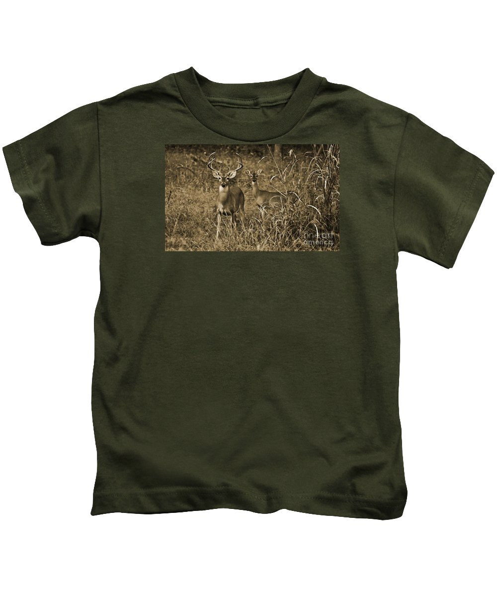 Buck And Doe In Sepia Kids T-Shirt featuring the photograph Buck And Doe In Sepia by Michael Tidwell