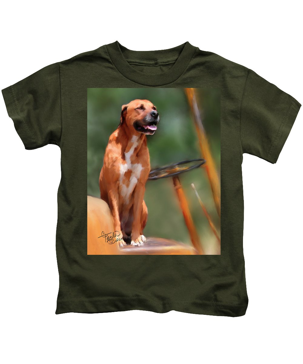 Dog Kids T-Shirt featuring the painting Buck by Colleen Taylor
