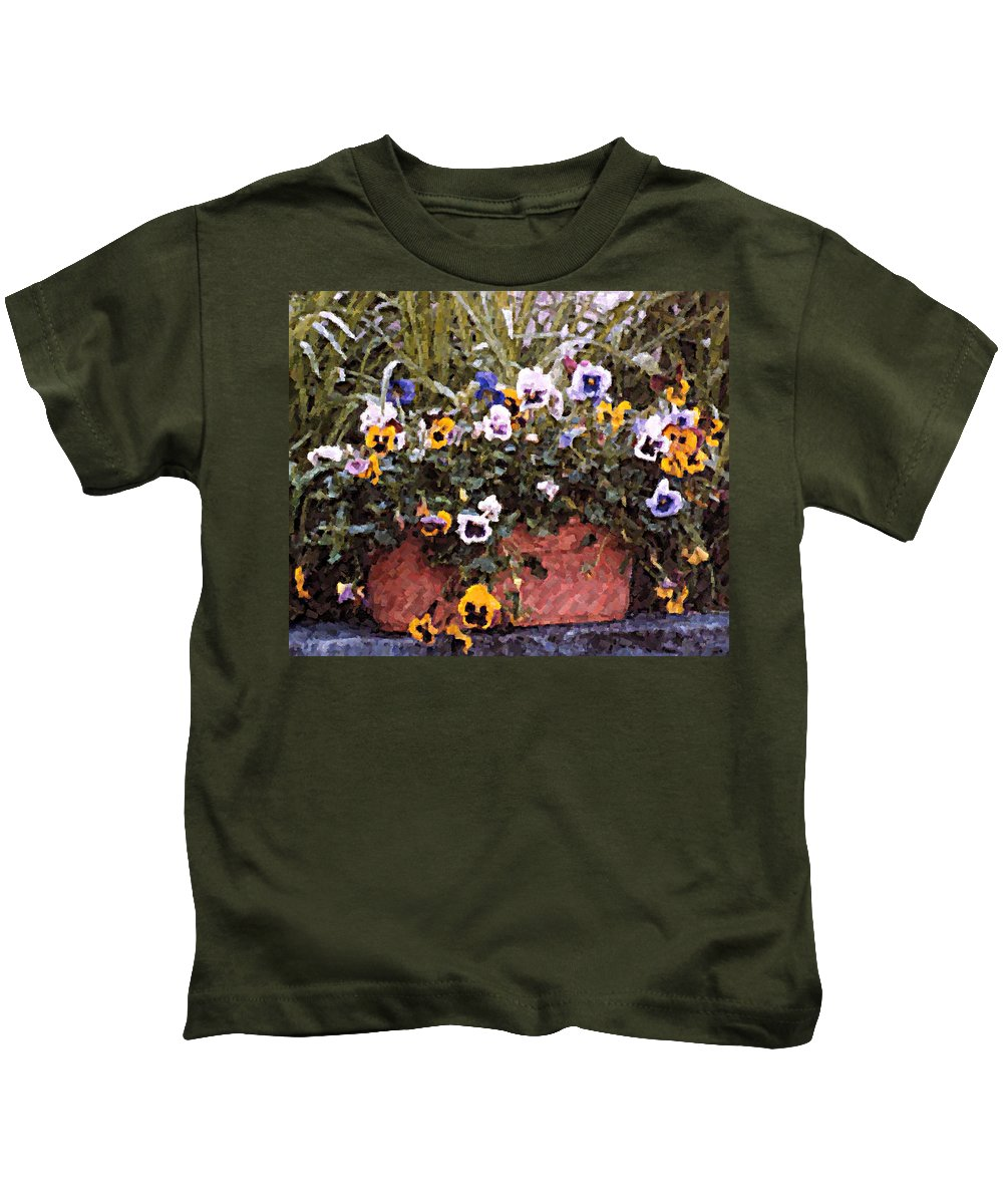 Flowers Kids T-Shirt featuring the photograph Bucket Of Flowers by Donna Bentley
