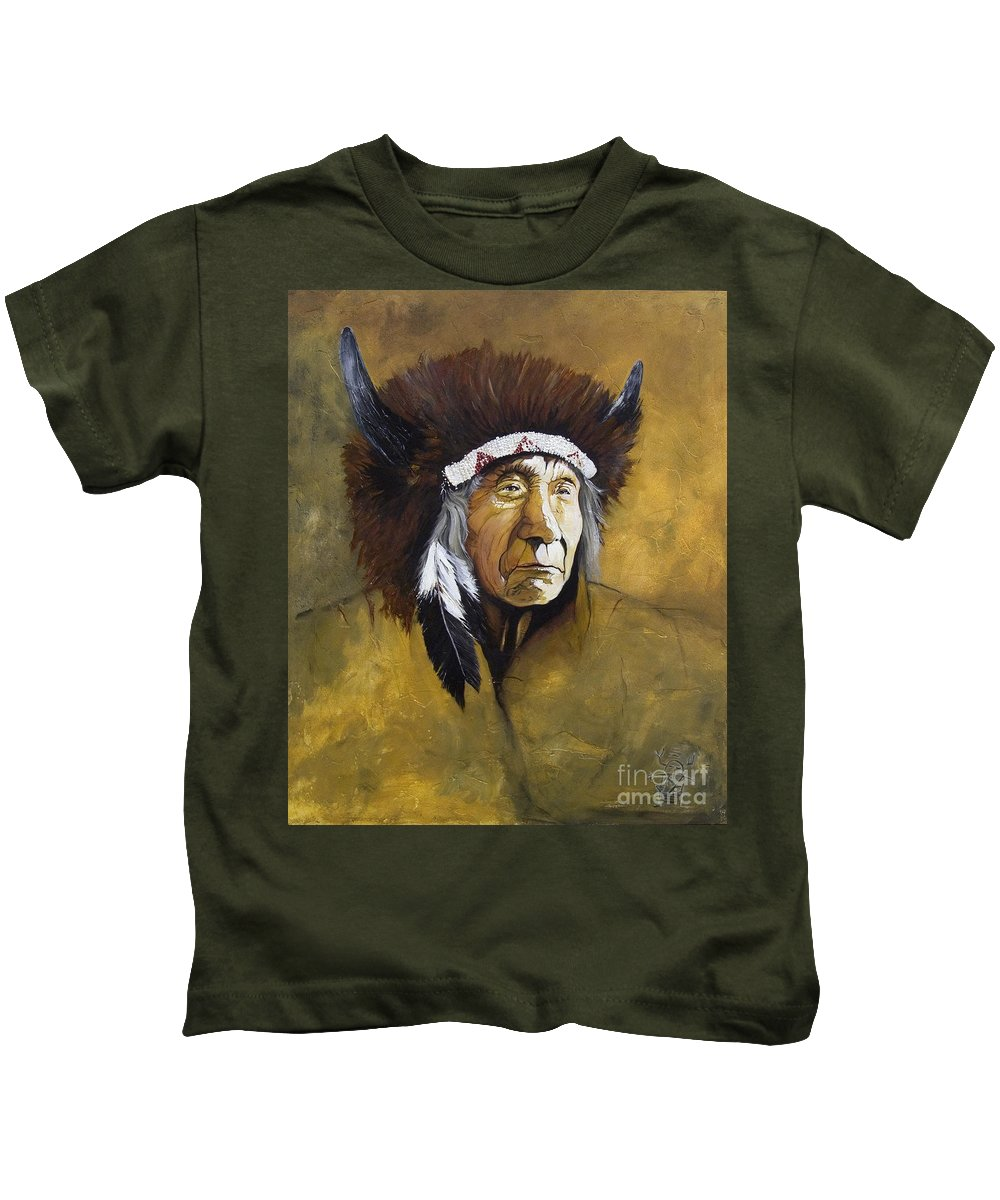 Shaman Kids T-Shirt featuring the painting Buffalo Shaman by J W Baker