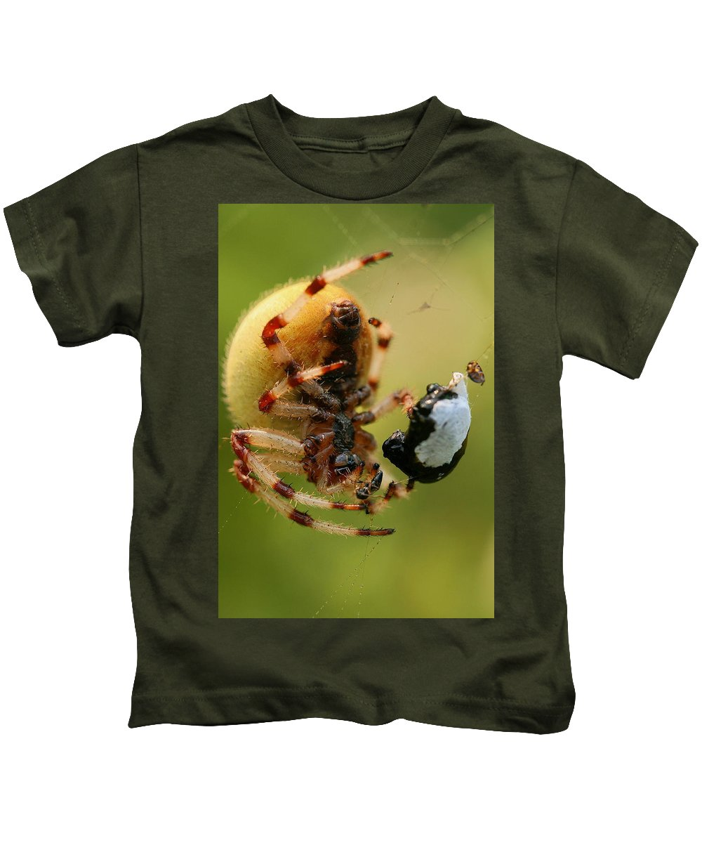 Web Kids T-Shirt featuring the photograph Buffet by Angela Rath