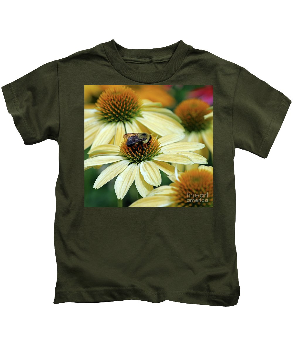 Flowers Kids T-Shirt featuring the photograph Bumble Bee At Work by Steve Gass