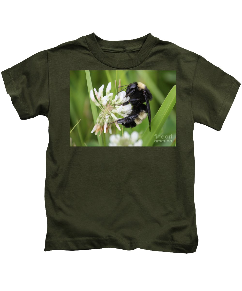 Bumble Bee Kids T-Shirt featuring the photograph Bumble Bee By The Pond by Carol Groenen