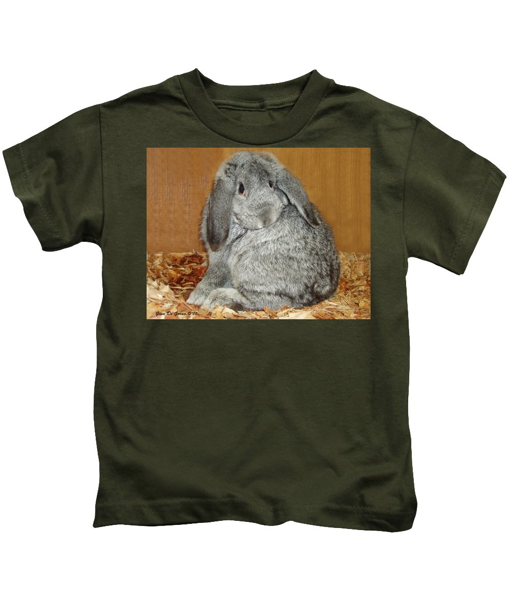 Bunny Kids T-Shirt featuring the photograph Bunny by Gina De Gorna