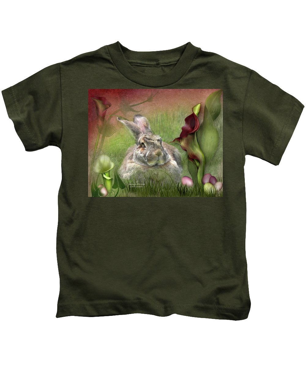 Bunny Kids T-Shirt featuring the mixed media Bunny In The Lilies by Carol Cavalaris