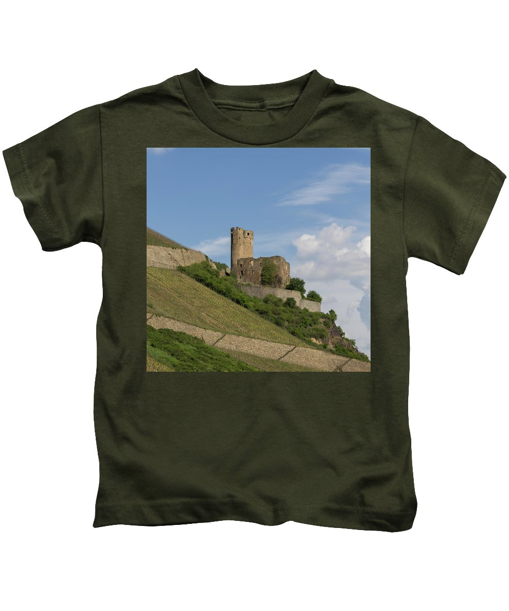 Ehrenfels Castle Kids T-Shirt featuring the photograph Burg Ehrenfels Squared 02 by Teresa Mucha