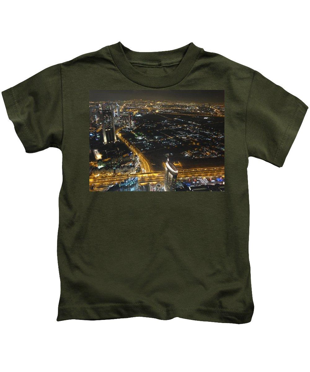 Burj Khalifa Kids T-Shirt featuring the painting Burj Khalifa Dubai by Anton Kostadinov