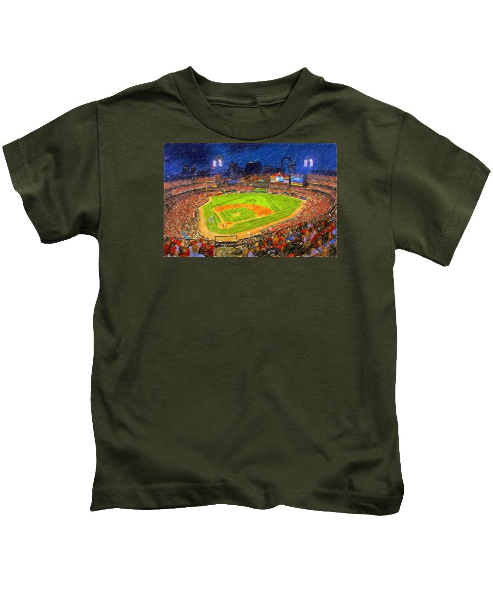 St. Louis Cardinals Kids T-Shirt featuring the painting Busch Stadium At Night Rocks by John Farr