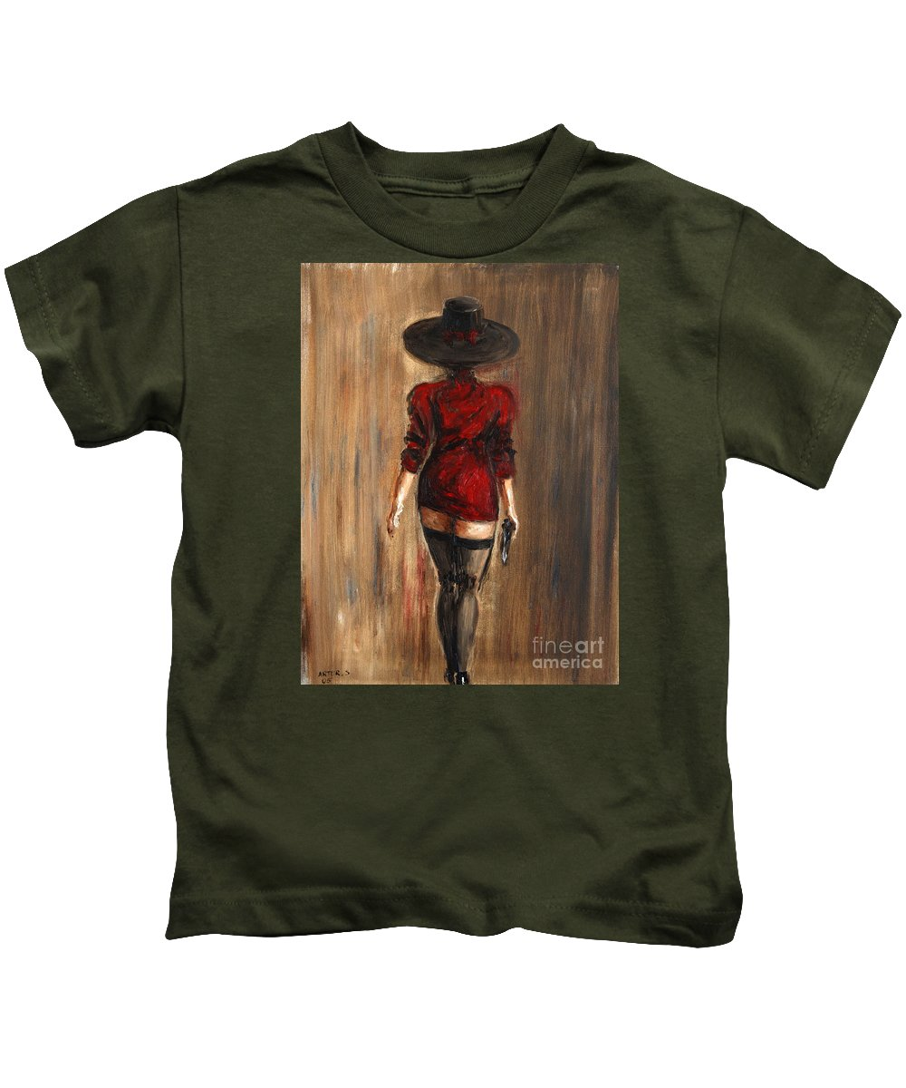 Lady Kids T-Shirt featuring the painting Business Lady by Arturas Slapsys