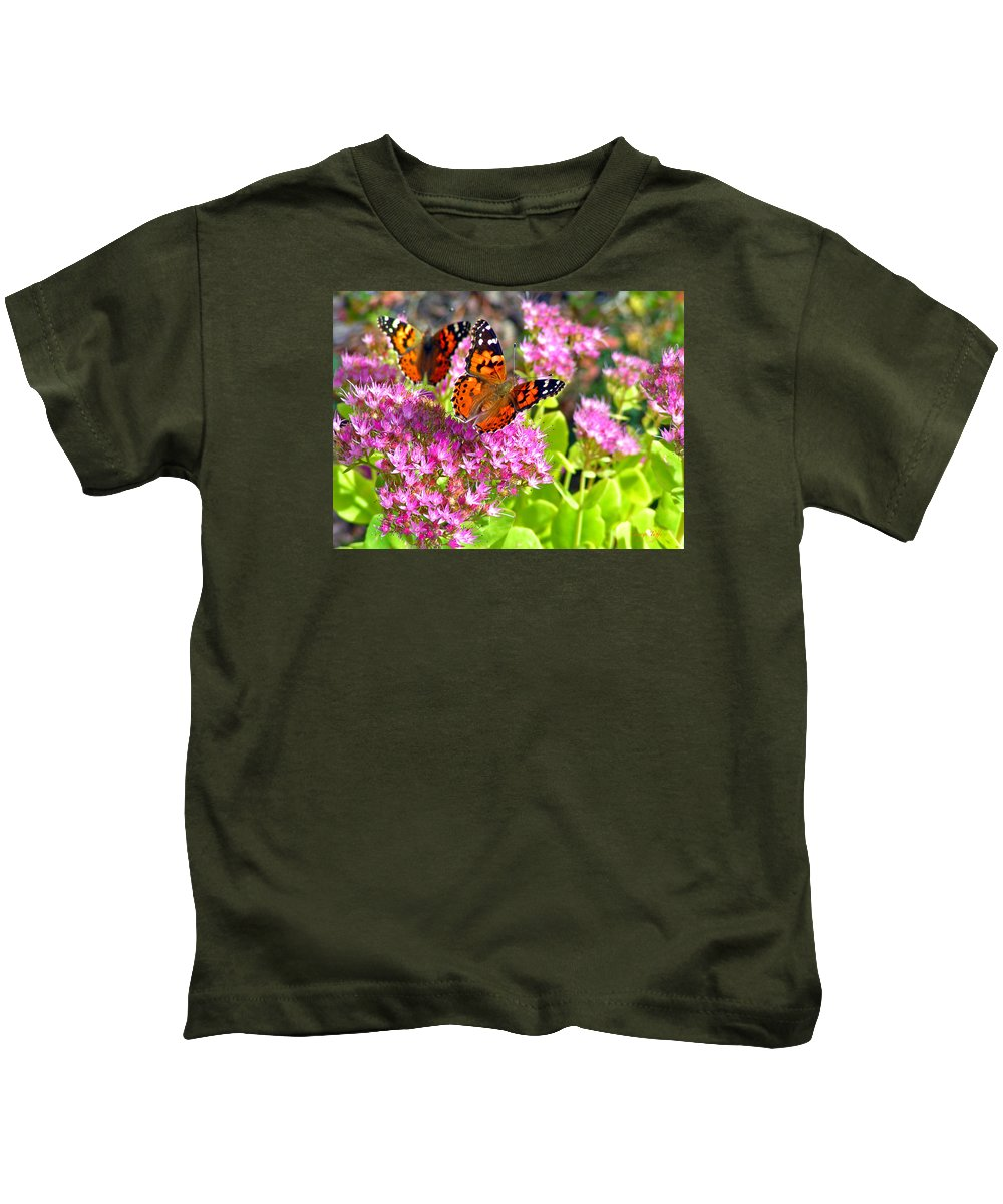 Butterflies Garden Colorado Nature Flowers Rocky Mountains Kids T-Shirt featuring the photograph Butterflies by George Tuffy