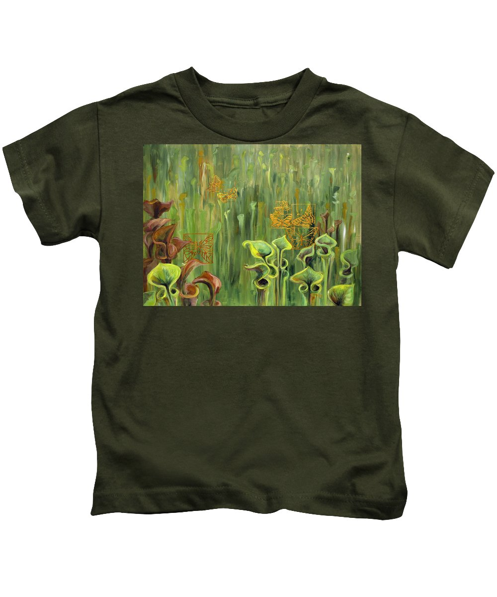 Acrylic Kids T-Shirt featuring the painting Butterflies In The Bog by Suzanne McKee