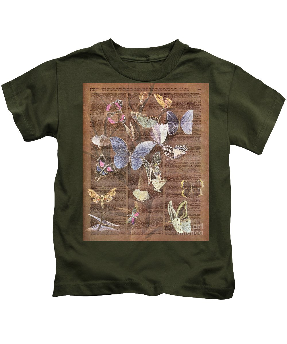 Butterfly Kids T-Shirt featuring the painting Butterflies On A Tree by Anna W