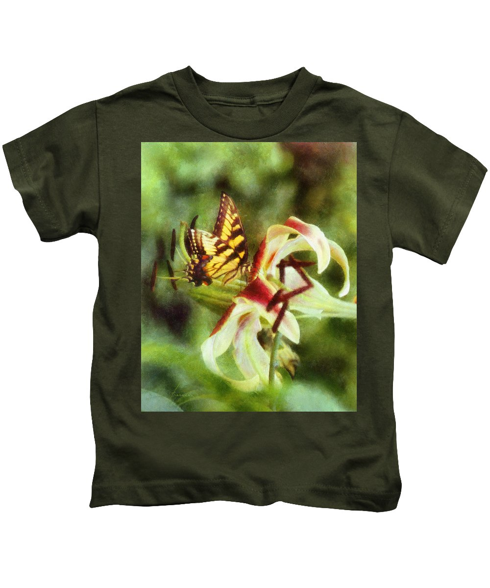 Butterfly Kids T-Shirt featuring the digital art Butterfly Daylily by Francesa Miller