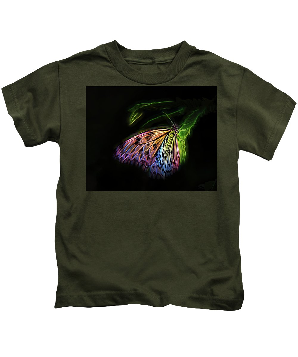 Digital Kids T-Shirt featuring the digital art Butterfly Fantasy 1a by Walter Herrit
