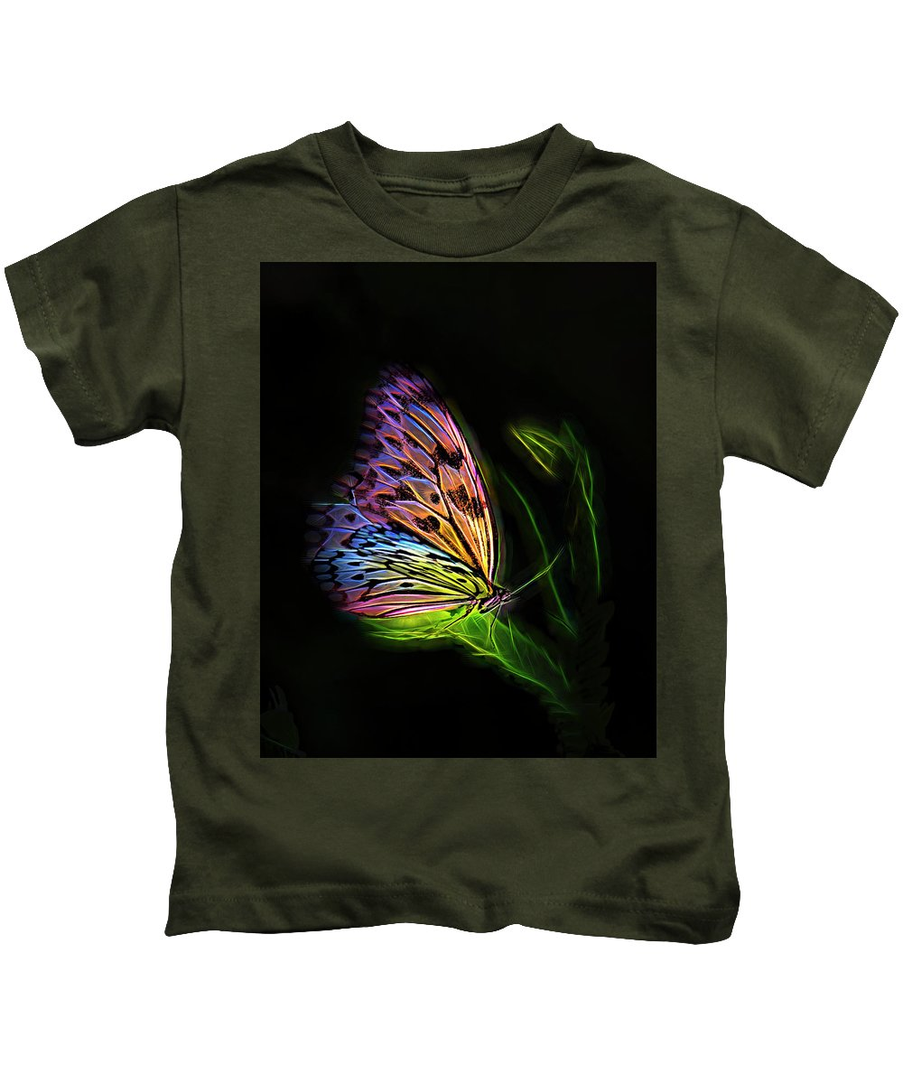 Fantasy Kids T-Shirt featuring the digital art Butterfly Fantasy 2a by Walter Herrit
