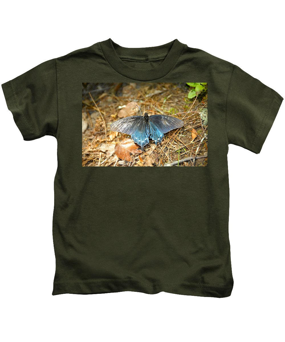 Butterfly Kids T-Shirt featuring the photograph Butterfly In The Forest by David Lee Thompson