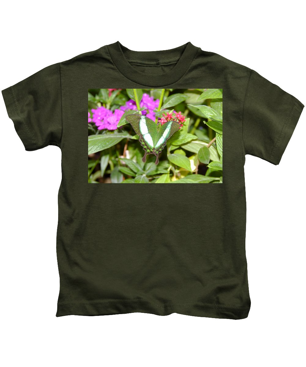 Garden Kids T-Shirt featuring the photograph Butterfly In The Garden by David Lee Thompson