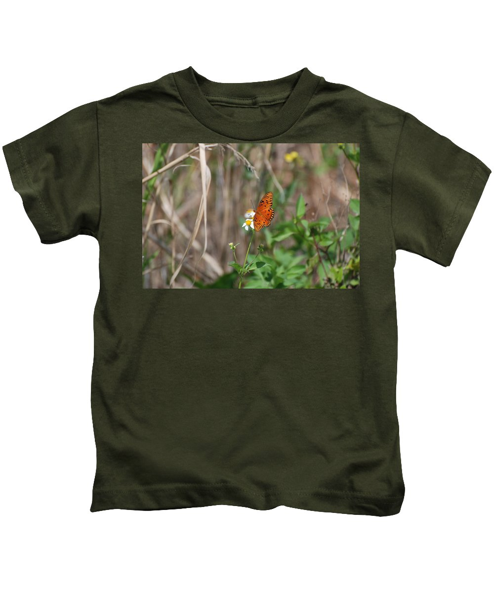 Nature Kids T-Shirt featuring the photograph Butterfly On Flower by Rob Hans