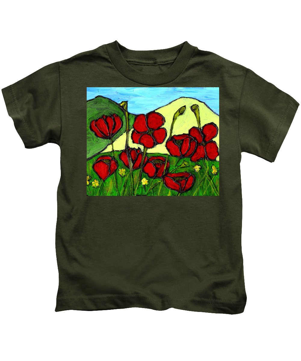 Flowers Kids T-Shirt featuring the photograph By The Side Of The Road by Wayne Potrafka