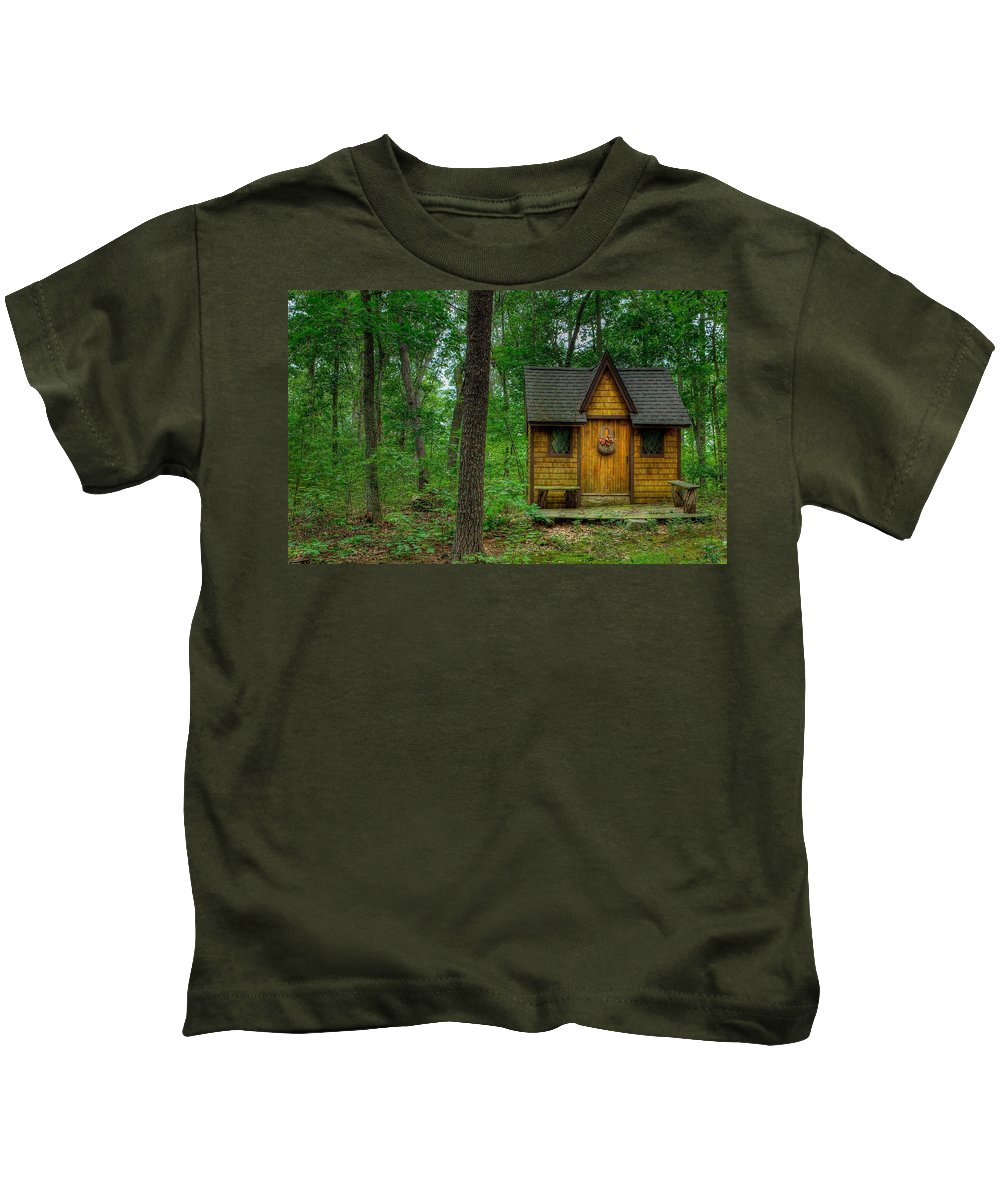Cabin Kids T-Shirt featuring the digital art Cabin by Dorothy Binder