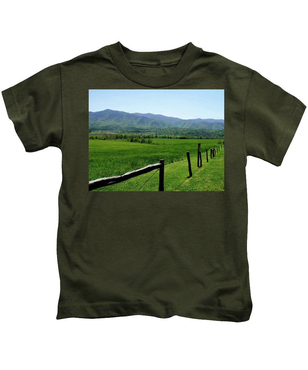 Cades Cove Kids T-Shirt featuring the photograph Cades Cove View by Nancy Mueller