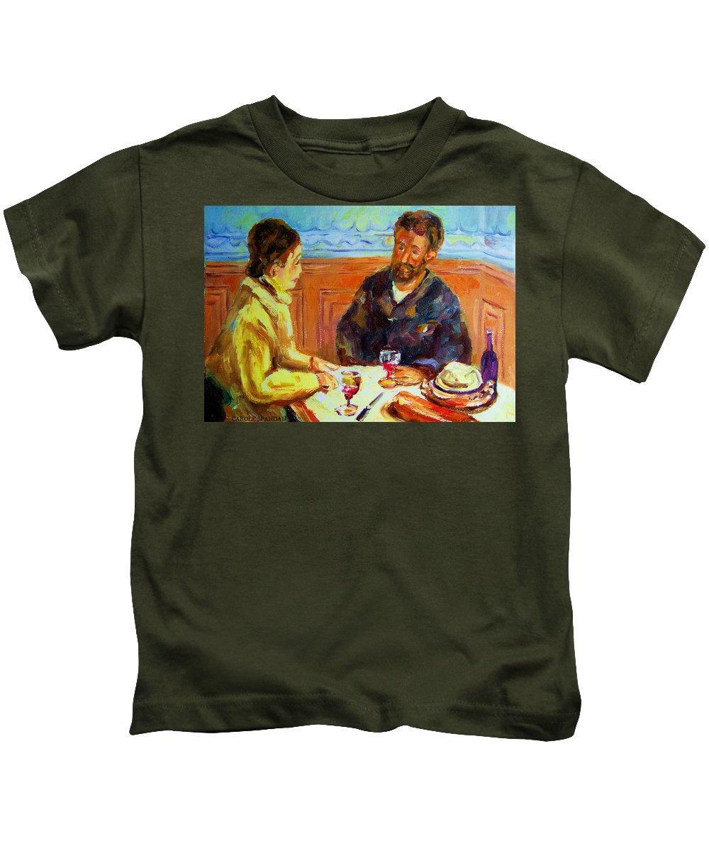 Cafe Scenes Kids T-Shirt featuring the painting Cafe Homage De Pierre Auguste by Carole Spandau