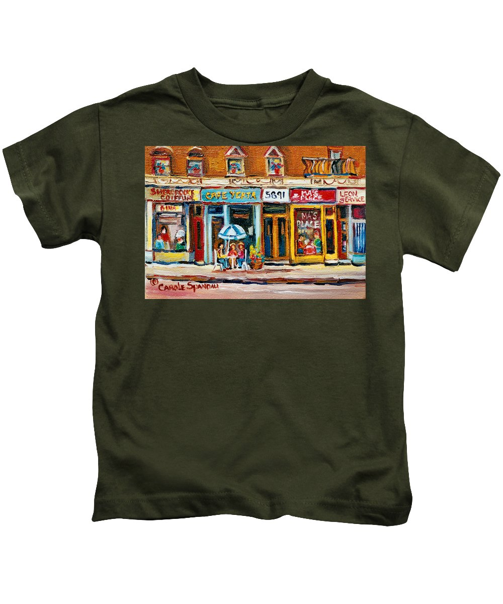 Cafes Kids T-Shirt featuring the painting Cafe Yenta And Ma's Place by Carole Spandau