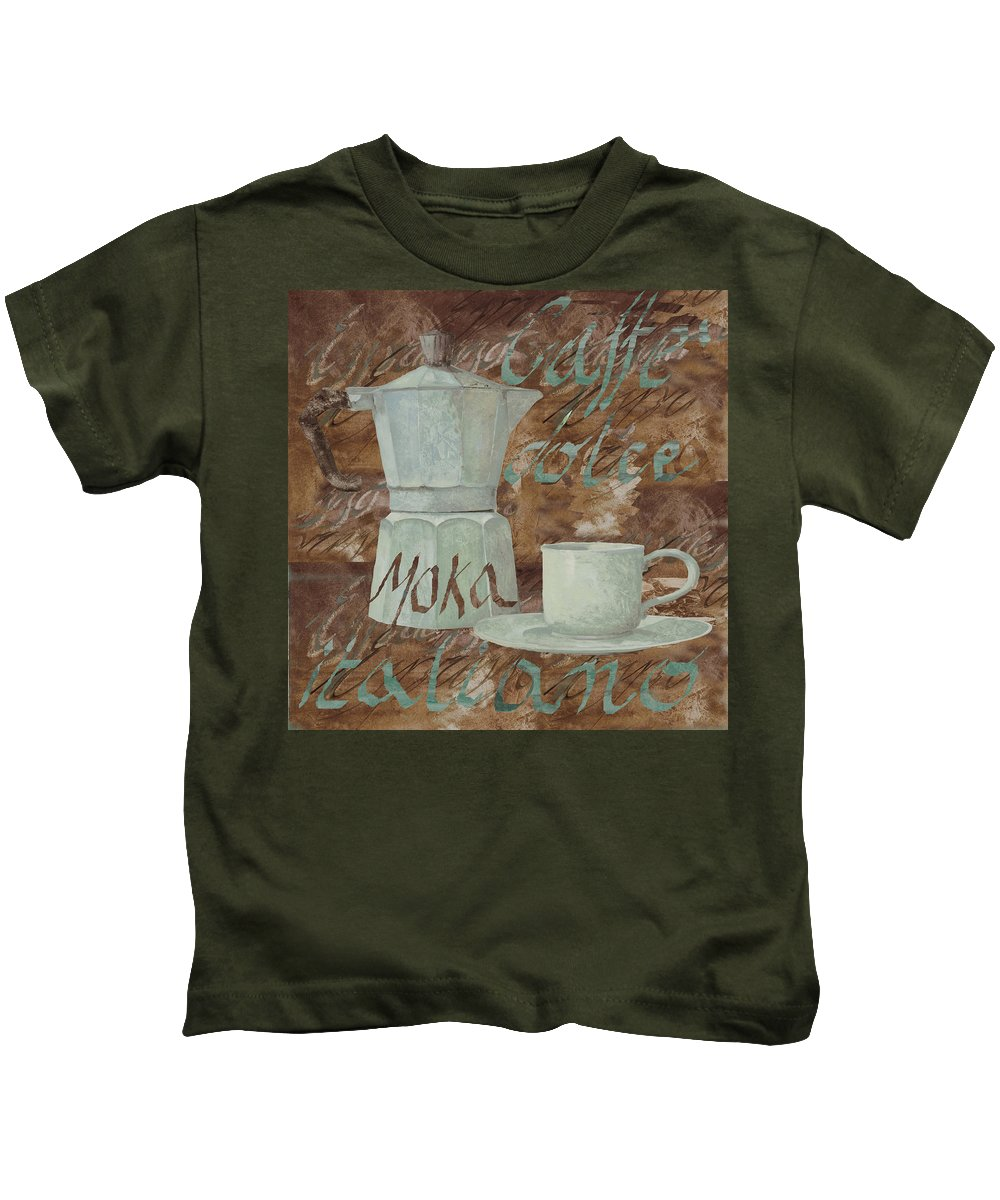 Caffe Kids T-Shirt featuring the painting Caffe Espresso by Guido Borelli