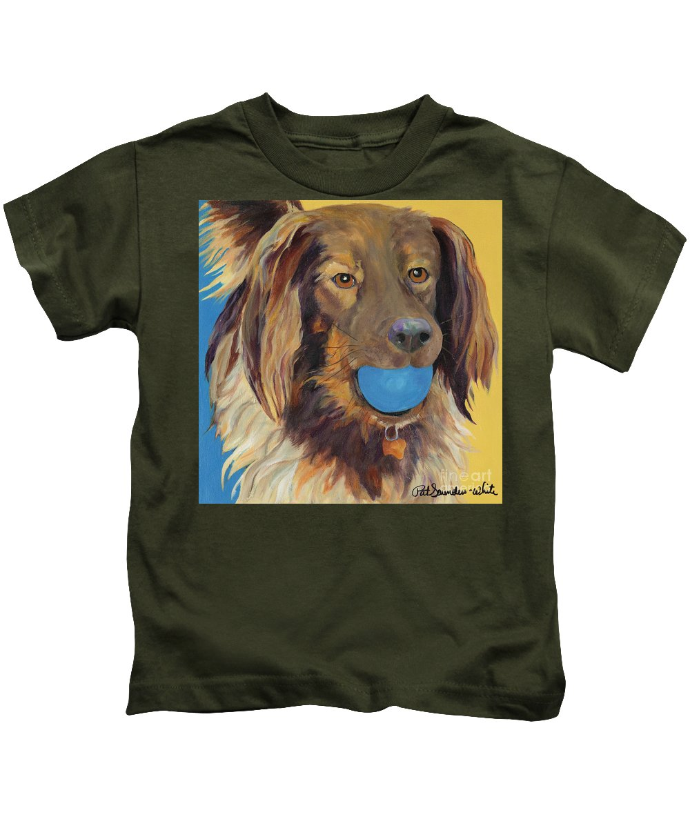 Dog Art Kids T-Shirt featuring the painting Caleigh by Pat Saunders-White