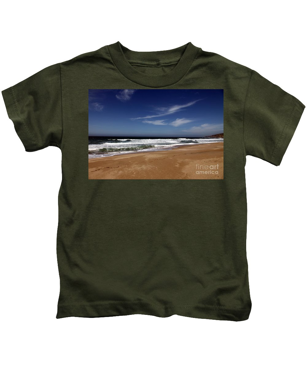 scott Creek Beach Kids T-Shirt featuring the photograph California Coast by Amanda Barcon