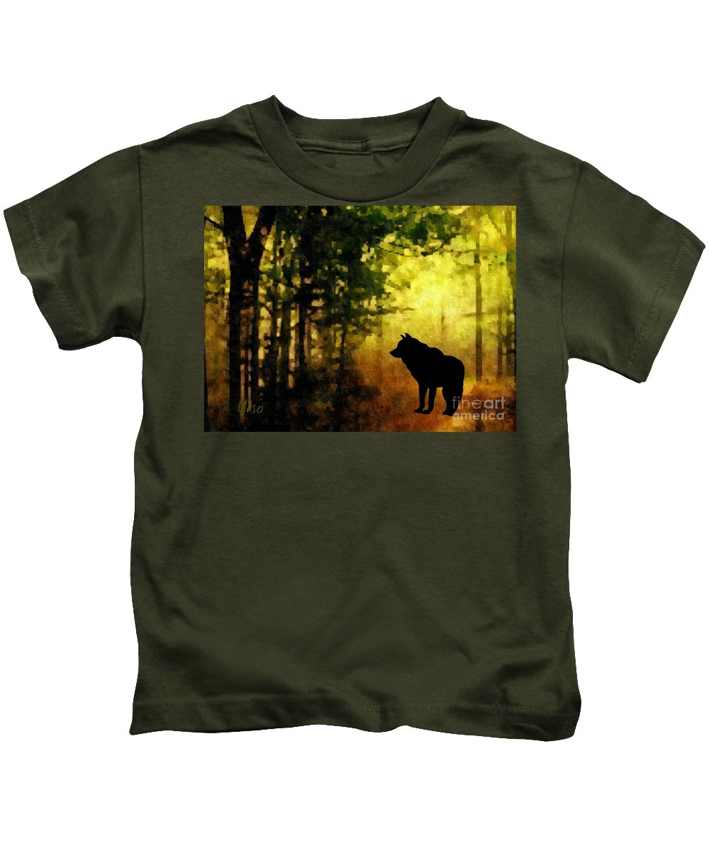 Call Of The Wolf Kids T-Shirt featuring the digital art Call Of The Wolf by Maria Urso